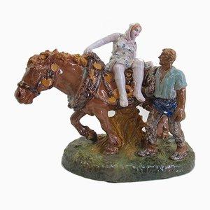 Bauer auf Pferd Keramikfigur von Humplik für Gmundner Keramik, 1920er