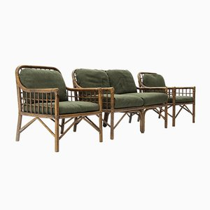 Rattan and Green Fabric Living Room Set, 1970s
