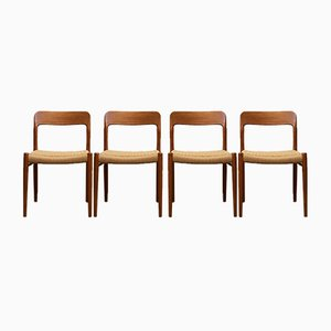 Dining Model 75 Chairs by Niels Otto Møller for J.L. Møllers, 1960s, Set of 4