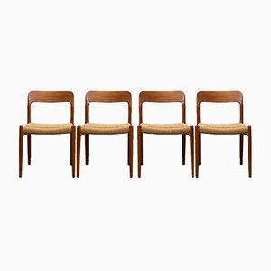 Modell 75 Esszimmerstühle von Niels Otto Møller für J.L. Møllers, 1960er, 4er Set