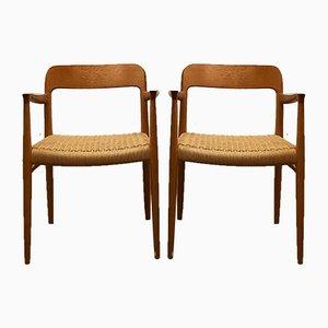 Dänische Mid-Century Modell 56 Stühle aus Eiche von Niels O. Møller für J.L. Møllers, 2er Set