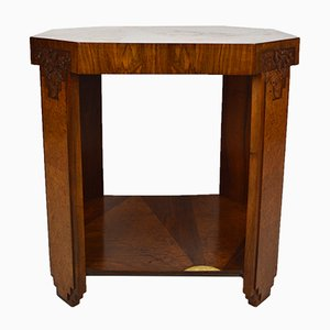 Art Deco Walnut Floral Side Table, 1920s
