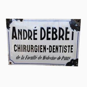Emailliertes Zahnarztschild, 1950er