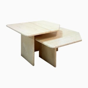 Tables Basses en Travertine, 1970s, Set de 2