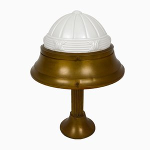 Art Deco Brass and Molded Glass Table Lamp, 1930s