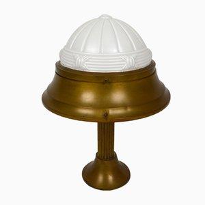 Art Déco Tischlampe aus Messing & Schirm aus geformtem Glas, 1930er