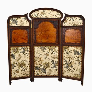 Antique Wooden 3-Panel Folding Screen, 1900s