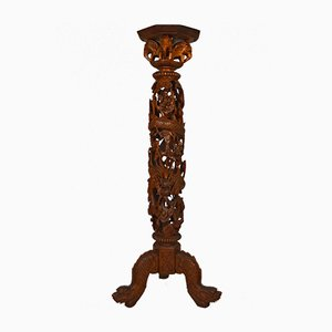 Antique Wood Pedestal Table, 1890s