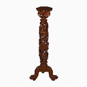 Mesa antigua de madera con pedestal, década de 1890