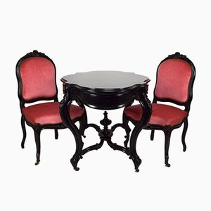Antique Ebonised Wood Game Table and Chairs Set
