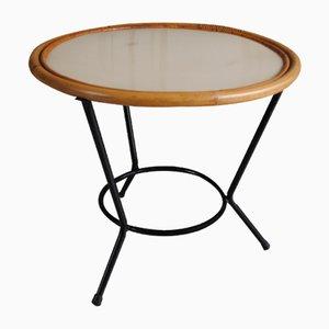 Table Basse en Rotin et Métal, 1950s