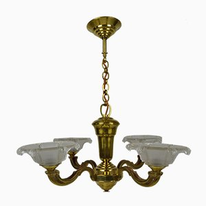 Art Deco Bronze and Brass Chandelier, 1940s