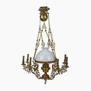 Antique Bronze and Brass Chandelier, 1890s
