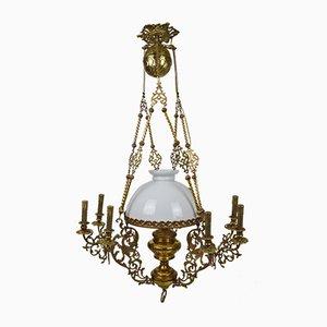 Lámpara de araña antigua de bronce y latón, década de 1890