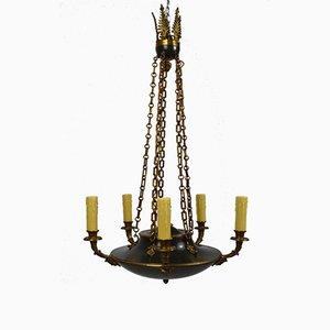 Lámpara de araña Imperio francesa antigua de bronce