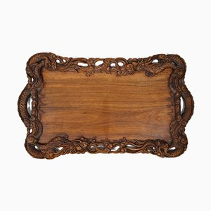 Antikes Tablett aus geschnitztem Holz, 1900er