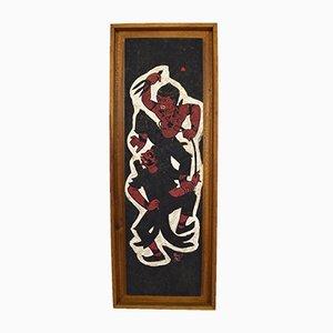 Hanuman VS Demon bemalte Tafel von Prasit, 1966