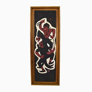 Panneau Hanuman Vs Démon en Bois Peint par Prasit, 1966