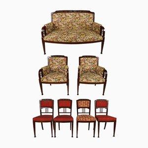 Set da salotto antico in mogano intagliato, inizio XX secolo