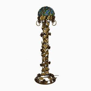 Art Déco Stehlampe aus Schmiedeeisen & Glas in Blumen-Optik, 1930er