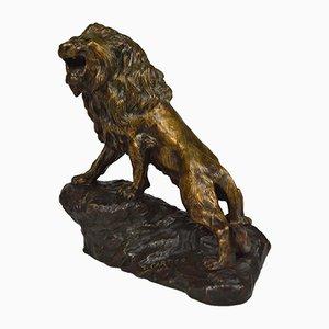 Scultura Snarling Lion antica in bronzo di Thomas François Cartier per Thomas François Cartier