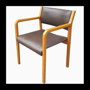Wood & Leatherette Lounge Chair from Wilkhahn, 1960s