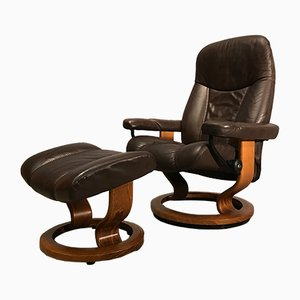 Rosewood Armchair with Footrest from Ekornes, 1970s
