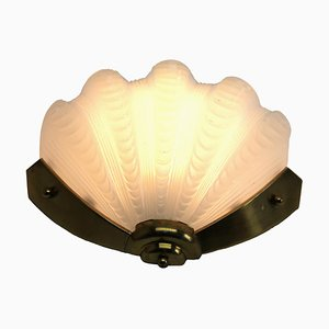 Opaque Art Deco Clamshell Wall Lamp With Brass Fittings