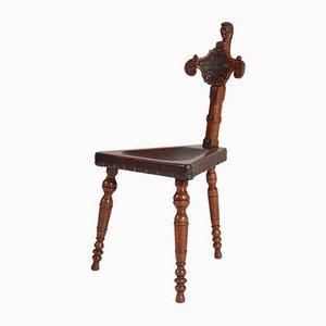 Chaise Tripode Renouveau Renaissance en Chêne avec Assise en Cuir, 1900s
