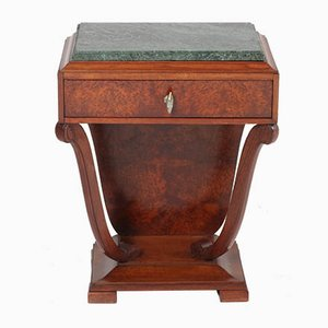 French Art Deco Burl Walnut Night Stand With Patricia Green Marble Top, 1930s