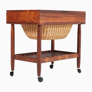 Mid-Century Rosewood Sewing Trolley by Ejvind Johansson for Vitré of Denmark, 1960s