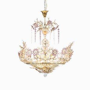 Französische Deckenlampe aus Amethyst & Kristallglas von Maison Baguès, 1950er