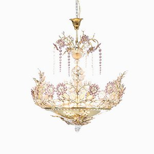 French Amethyst and Crystal Ceiling Lamp from Maison Baguès, 1950s