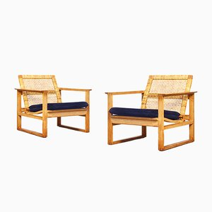 Danish Lounge Chairs by Børge Mogensen, 1950s, Set of 2