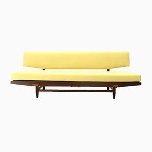 Sofá cama italiano amarillo de madera, años 60
