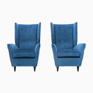 Italian Blue Velvet Wingback Armchairs, 1950s, Set of 2
