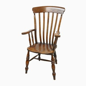 Antique Elm Windsor Grandfather Armchair