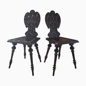 Antike Holzbrettstühlen mit Schnitzerei, 2er Set