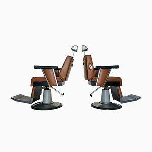 Sillas giratorias de barbero, años 70. Juego de 2