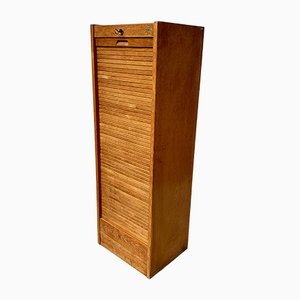Model D217 Oak Veneer Haberdashery Roll Top Cabinet, 1950s