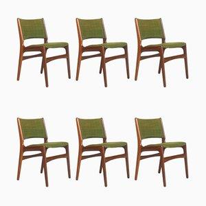 Chaises de Salle à Manger Modèle 89 en Teck et Laine par Erik Buch pour Anderstrup Mobelfabrik, Danemark, 1960s, Set de 6
