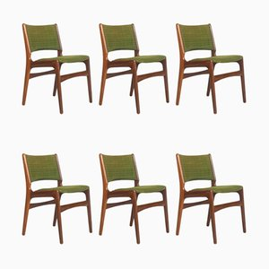 Danish Teak and Wool Model 89 Dining Chairs by Erik Buch for Anderstrup Mobelfabrik, 1960s, Set of 6