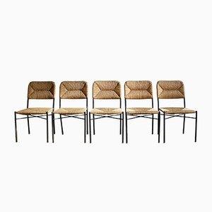 Mid-Century French Iron and Rush Dining Chairs, 1950s, Set of 5
