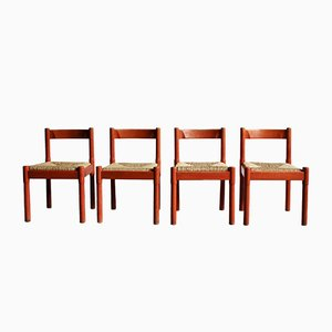 Red Carimate Dining Chairs by Vico Magistretti for Habitat, 1970s, Set of 4