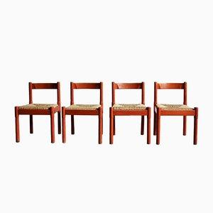 Rote Carimate Esszimmerstühle von Vico Magistretti für Habitat, 1970er, 4er Set