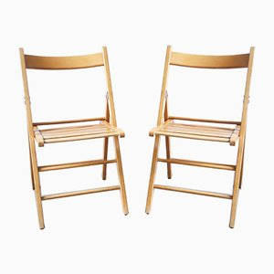 Mid-Century Wooden Folding Chairs, Set of 2