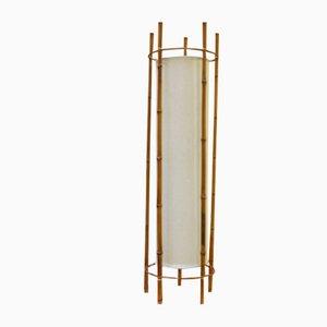 Stehlampe aus Bambus & Baumwolle von Louis Sognot, 1950er