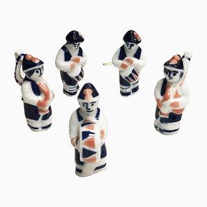 Figuras de músicos de muñeira de Sargadelos, años 80. Juego de 5