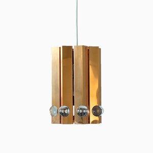 Lámpara de techo danesa de cobre de Werner Schou para Coronell Elektro, años 60