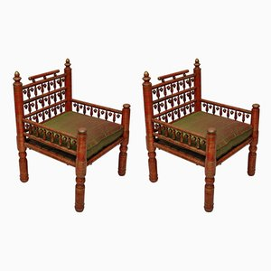 Pakistani Red Lacquered Wedding Chairs, 1940s, Set of 2